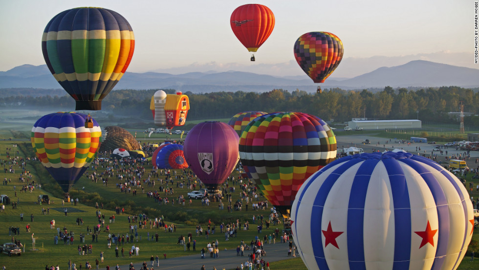 Adirondack Balloon Festival - Celebrating 40 years of festivity, the lineup at this year's Adirondack Balloon Festival in Glen Falls, New York, includes a balloon shaped like a birthday cake.