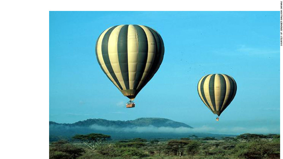 Serengeti Balloon Safari in Tanzania - After bumping along the plains of the Serengeti at dawn, passengers take flight in balloons, where they can exercise their wildlife photography skills.