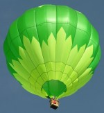 up view at a beautiful green hot air balloon