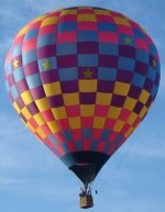 pix of a checkerboard hot air balloon against the sky