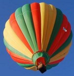 up view of a lovely stripped hot air balloon